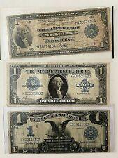 3-U.S. Large Size $1 Notes 1918, 1923, 1899 Rare Black Eagle Note