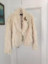 Vintage Rabbit Fur Jacket Ivory with Lace and Brooch Size Small