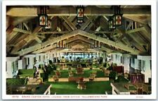 """1930s Yellowstone National Park Postcard """"Grand Canyon Hotel Lounge from Office"""""""