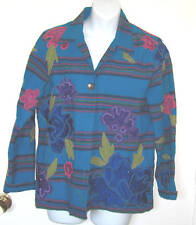 EUC Chico's Jacket Embroidered Sequins Blue Womans Small 0  Size 2-4 Jean Coat