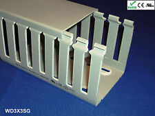 """12 New 3""""x3""""x2m Wide Finger Open Slot Wire Cable Raceway Duct,PVC Material,Gray"""