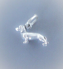 Sterling Silver Dachshund Charm, 3D Tiny Dog, Small, Mini, USA