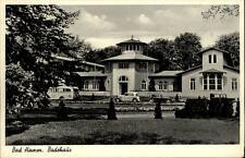 Bad Hamm Postkarte ~50er Jahre Partie am Badehaus alte Autos Bus Grünanlagen