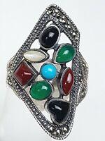 Big Multi-Edelstein Ring 925 Silber Türkis,Achat,Karneol Onix RG 60/19 mm/A 288