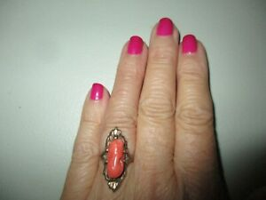BEAUTIFUL VINTAGE CORAL LONG OVAL 10K YELLOW GOLD RING CAMEO