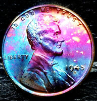"""1945-D Lincoln Wheat Penny Cent- """"Beautifully Toned"""" SUPERB MS++ GEM++ BU++ 02"""