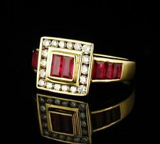 LEVIAN SIGNED RARE NATURAL 1.14ctw RUBY AND DIAMOND SOLID 18K YELLOW GOLD RING