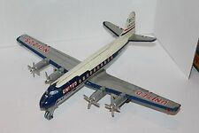 TN NOMURA FRICTION BATT OP OPERATED TIN UNITED AIRLINES DC-7 MAINLINER AIRPLANE
