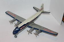 VINTAGE TN NOMURA FRICTION OPERATED TIN UNITED AIRLINES DC-7 MAINLINER AIRPLANE