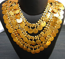 Gold Coin 3 Layer Chain Metal Necklace Gypsy Boho Egyptian Belly Dance Jewelry