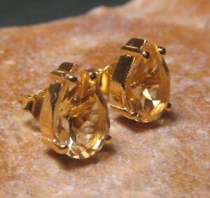 Sterling silver & 18k gold plate 9x6mm CUT CITRINE STUD earrings. Gift bag.