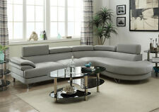 Living Room Curved Sectional Sofa Couch Round Chaise Grey Faux Leather Metal Leg