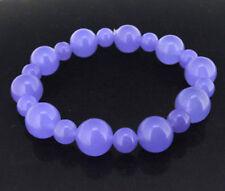 12mm 8mm Round Lavender Purple Jade Stone Gemstone Bead Stretchy Bangle Bracelet