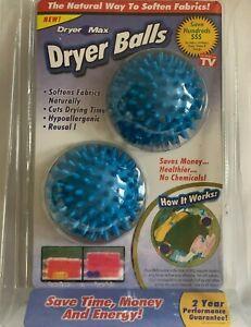 2 x DRYER MAX - DRYER LAUNDRY BALLS * NATURAL WAY To SOFTEN FABRICS * SAVE MONEY
