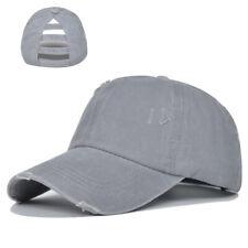 Women's Baseball Cap Sun Hat High Messy Bun Ponycap Washed Ponytail Hats Adjust