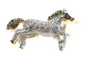 Bijou fantaisie broche cheval doré strass brooch