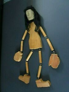 Vintage Homemade Wooden Marionette With Scary Face