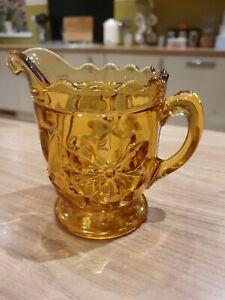 Vintage Amber Brown Pressed Glass Milk Cream Jug Creamer