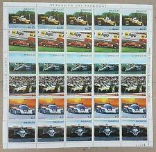 EC144 1982 PARAGUAY SPORT CARS AUTOMOBILES MICHEL 22 EU BIG SH FOLDED IN 2 MNH