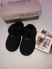 Bearpaw Loli II Genuine Sheepskin  Fur Lined  Slipper Black Women Size 7 New