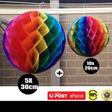 15X Rainbow Tissue paper pom pom honeycomb ball lantern wedding party decoration