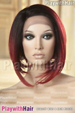 Sleek Sophisticated Bob Wig Lace Front Heat Safe Mono Part Brown Red Tip DIP DYE