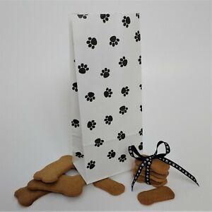 Paw Print Kraft Paper Bag Gusseted Pet Dog Puppy Cat treat sacks(10,20,50,100)