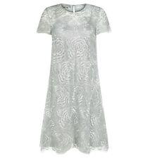 Vestido De Malla Hobbs plata rosa brillante. tamaño de Reino Unido 12. RRP £ 299. BNWT.
