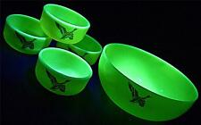 UNUSUAL VINTAGE DUROVE CUSTARD YELLOW URANIUM GLASS DUCK BIRD BOWL SUNDAE DISHES