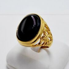 MEN RING BLACK ONYX SYN STAINLESS STEEL GOLD SOLITAIRE CARVED DRAGON GEM SIZE 10