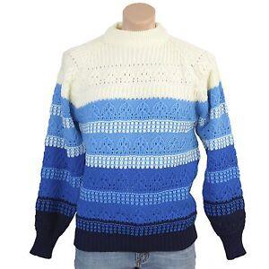 Vintage 70s Sweater Blue Crochet Knit Stripes Mens-M, Womens-L Winter Ski Lodge