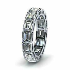 3ct Emerald Diamond Eternity Anniversary Wedding Ring Band White Gold Over