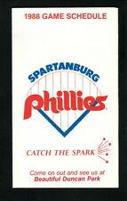 Spartanburg Phillies--1988 Pocket Schedule--WMYI