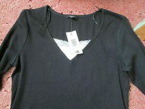 black with white inset ladies black top Papaya UK 16 NEW 100% cotton