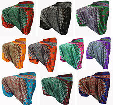 INDIAN BAGGY GYPSY HAREM PANTS YOGA MEN WOMEN Peacock Feather PRINT TROUSERS