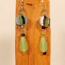 "1 1/2"" Handmade Blue Green Color Snowball Teardrop Dangle Earring FREE SHIPPING!"