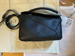 AUTHENTIC Loewe Puzzle Bag in Black Leather, SMALL SIZE