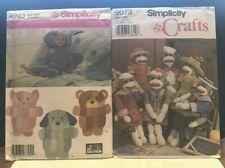 SEWING PATTERN Simplicity 4993 RAG QUILT DOG CAT Longia Miller 9073 SOCK MONKEY