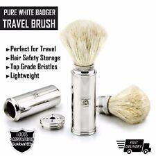 pour Hommes Voyage Brosse rasage Pure whitebadger cheveux en acier inox poignée