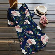 ZANZEA Damen Neu Sommer Floral Kurzarm Rundhals Blumen Kleid Strand Minikleid