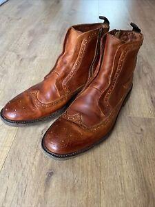 Oliver Sweeney Mens Zip/ Slip On Buffalo Leather Boots Size UK10/ EU 44.5 RRP280