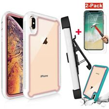 For Apple iPhone XR XS MAX Hybrid Bumper Case+Belt Clip Holster+Tempered Glass