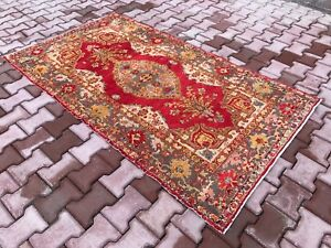 """Turkish Rugs 4'0""""x7'0"""" Small Antique Rugs Home&Living Rugs Nomadic Carpets 1518"""