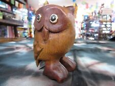 Hand Carved Solid Timber Wooden Wise Owl Decorative Ornament Statue 8cm Tall