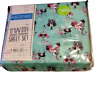 Sheet Set Puppy Dogs Glasses Bows Bedtime Kids Twin Aqua Pink