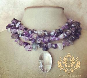 CHUNKY Amethyst Purple Lavender Statement Necklace Clear Rock Quartz Pendant