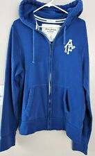 Abercrombie & Fitch Mens Blue Zip Hoodie Sweatshirt size XL Spell-out