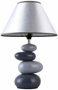 Shades of Gray Stone-Like Round Ceramic Base Bed Side Table Lamp w/ Fabric Shade