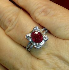18K Natural Ruby and Diamond Halo Ring. 2.45 TCW Great Value
