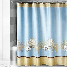 """Watercolor Shell"" Coastal Nautical 72"" x 72"" Fabric Shower Curtain FREE SHIP"